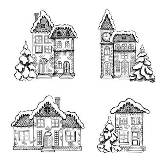 Illustration des maisons carte de voeux de noël ensemble de bâtiments dessinés à la main