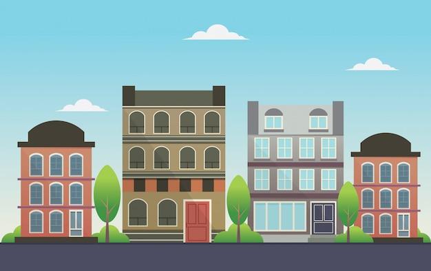 Illustration de maisons modernes de fond