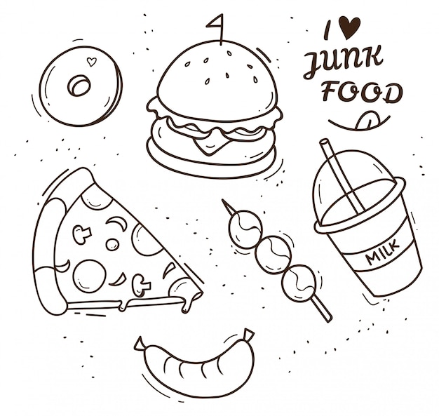 Illustration de la malbouffe doodle
