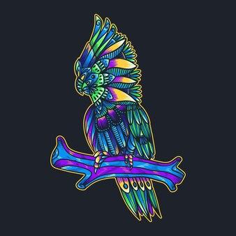 Illustration de mandala cacatoès coloré