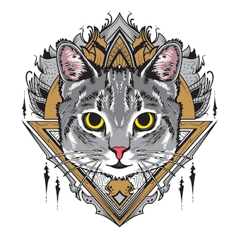 Illustration de mandala de chat gris cool