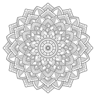 Illustration de mandala floral dessiné à la main avec dessin au trait