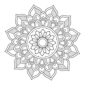 Illustration de mandala floral dessiné à la main
