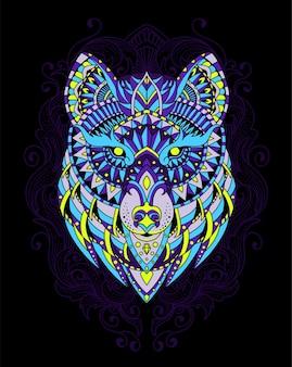 Illustration de mandala de loup