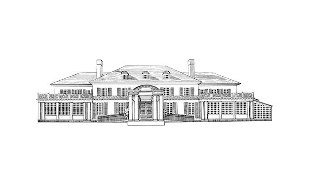 Illustration avec manoir de style géorgien, domaine. bâtiment historique avec toit colonial à toit en croupe, avec lucarnes au troisième étage. lieu de mariage noir et blanc, architecture