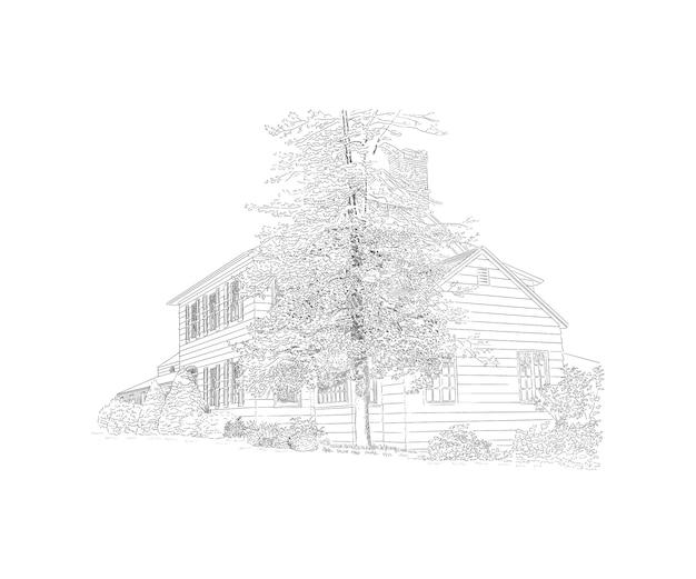 Illustration avec manoir de style, grand arbre en face, propriété de campagne. bâtiment historique