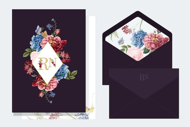 Illustration de maquette de carte d'invitation floral