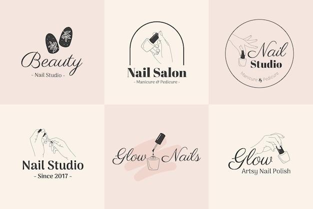 Illustration de maquette de logo de salon de manucure de beauté