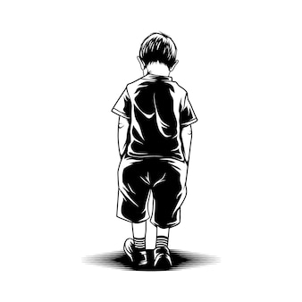 Illustration de marche enfant vue arrière