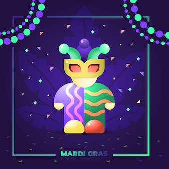 Illustration mardi gras fool mask