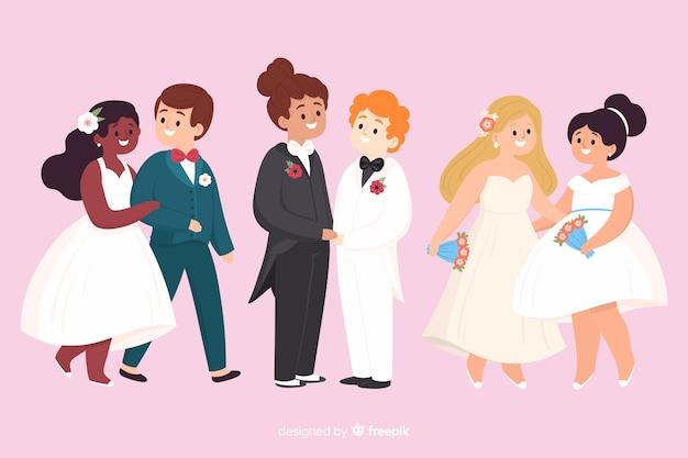 Illustration de mariage avec des couples