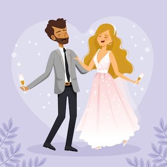 Illustration de la mariée et le marié