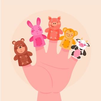Illustration de marionnette à doigt plat organique