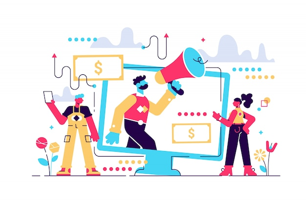 Illustration de marketing d'affiliation. type de stratégie commerciale et publicitaire commerciale utilisant le référencement, le paiement par clic et le courrier. poignée de main humaine et coopération.