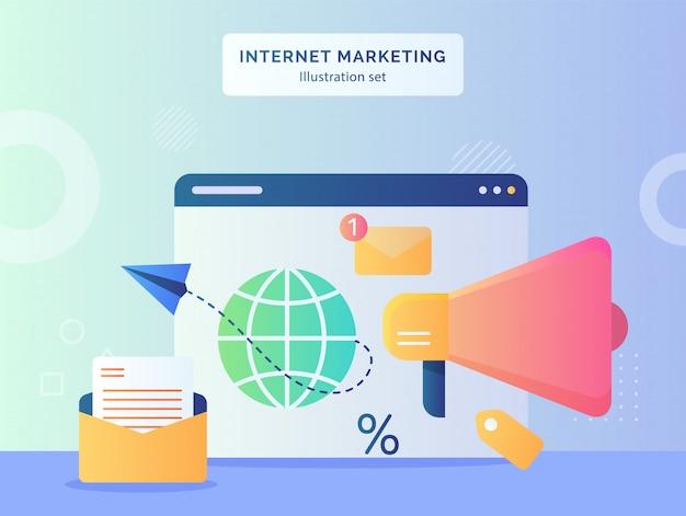 Illustration de marketing internet définie avion en papier volant du globe dans un ordinateur de moniteur d'affichage