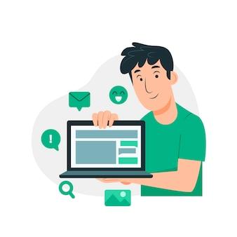 Illustration de marketing en ligne plat organique