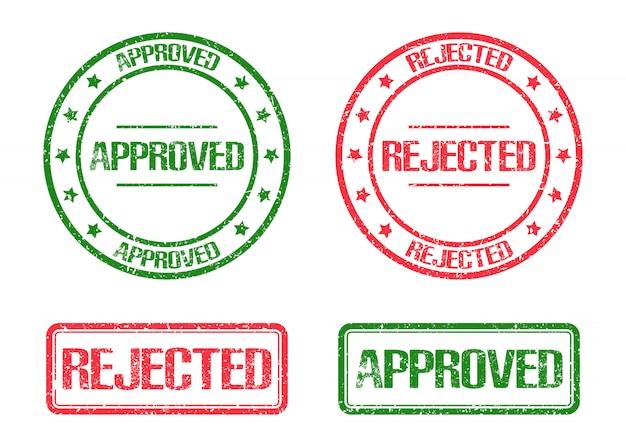 Illustration de marque de timbre approuvée et rejetée isolated on white