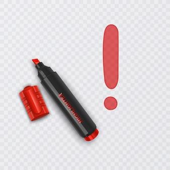 Illustration avec un marqueur réaliste de point d'exclamation de couleur rouge