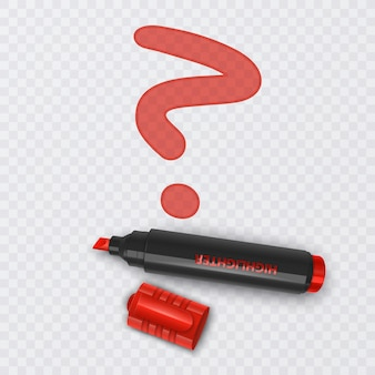 Illustration avec un marqueur réaliste de point d'interrogation de couleur rouge sur fond transparent