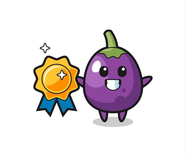 Illustration de mascotte d'aubergine tenant un badge doré, design de style mignon pour t-shirt, autocollant, élément de logo