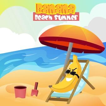 Illustration de la mascotte banane portant des lunettes de détente sur la plage