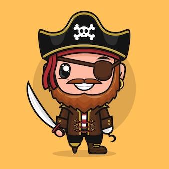 Illustration de mascotte bandit capitaine personnage de dessin animé pirate