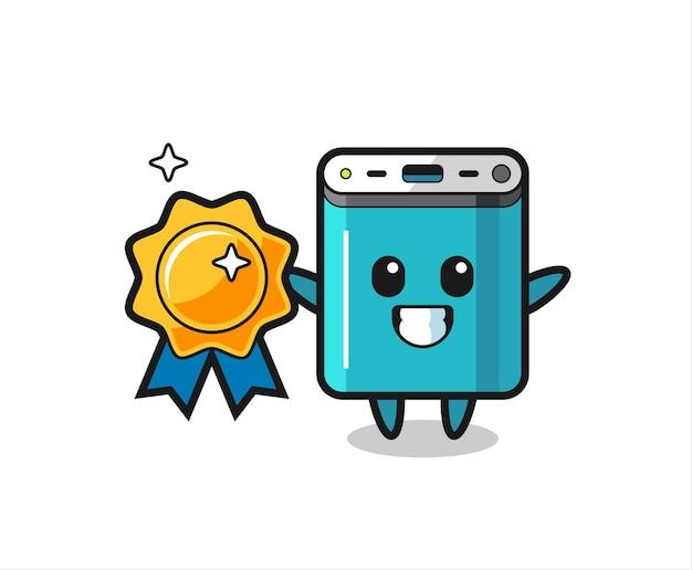 Illustration de mascotte de banque d'alimentation tenant un badge doré, design de style mignon pour t-shirt, autocollant, élément de logo