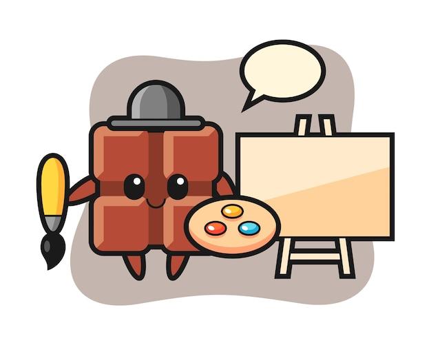 Illustration de la mascotte de la barre de chocolat en tant que peintre, style kawaii mignon.