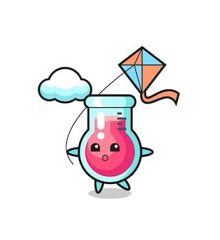 L'illustration de mascotte de bécher de laboratoire joue au cerf-volant, design de style mignon pour t-shirt, autocollant, élément de logo