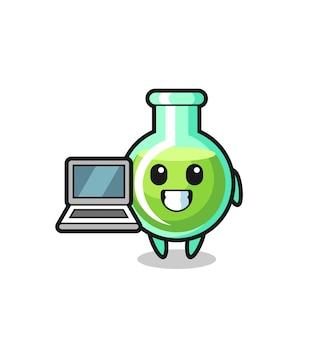 Illustration de mascotte de béchers de laboratoire avec un ordinateur portable, design de style mignon pour t-shirt, autocollant, élément de logo