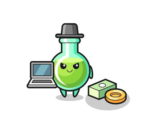 Illustration de mascotte de béchers de laboratoire en tant que pirate informatique, conception de style mignon pour t-shirt, autocollant, élément de logo
