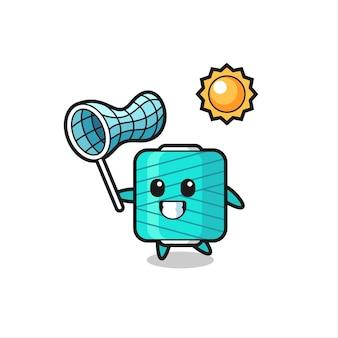L'illustration de la mascotte de la bobine de fil attrape un papillon, un design de style mignon pour un t-shirt, un autocollant, un élément de logo
