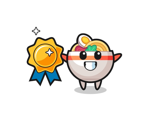 Illustration de mascotte de bol de nouilles tenant un badge doré, design de style mignon pour t-shirt, autocollant, élément de logo