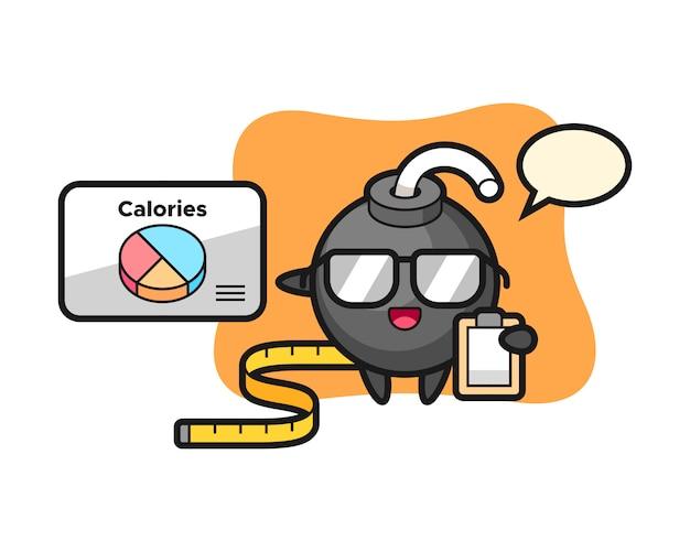 Illustration de la mascotte de la bombe en tant que diététiste