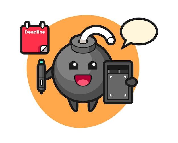 Illustration de la mascotte de la bombe en tant que graphiste