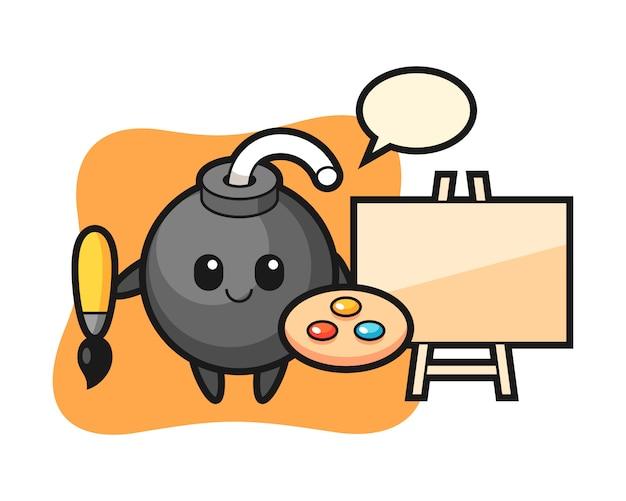 Illustration de la mascotte de la bombe en tant que peintre
