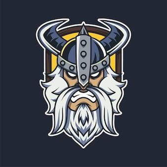 Illustration de mascotte de bouclier viking