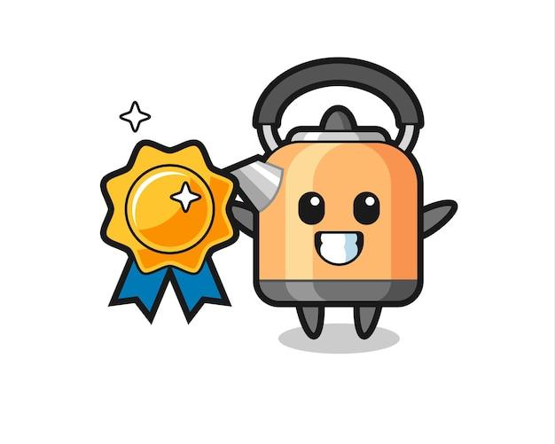 Illustration de mascotte de bouilloire tenant un badge doré, design de style mignon pour t-shirt, autocollant, élément de logo