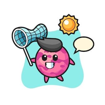 L'illustration de mascotte de boule de crème glacée attrape un papillon, un design de style mignon pour un t-shirt, un autocollant, un élément de logo