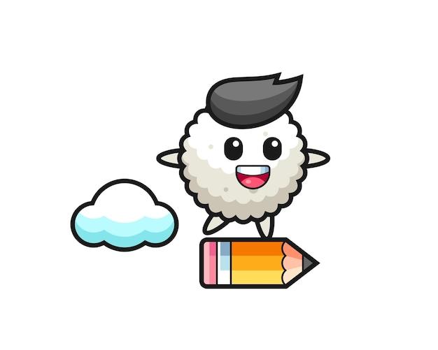 Illustration de mascotte de boule de riz à cheval sur un crayon géant, design de style mignon pour t-shirt, autocollant, élément de logo