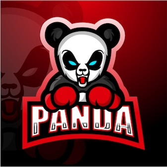 Illustration de mascotte de boxe panda esport
