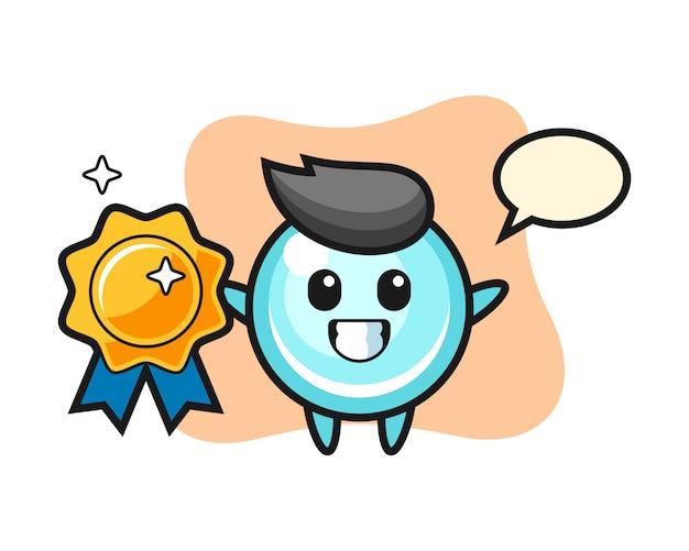 Illustration de mascotte de bulle tenant un insigne doré, conception de style mignon