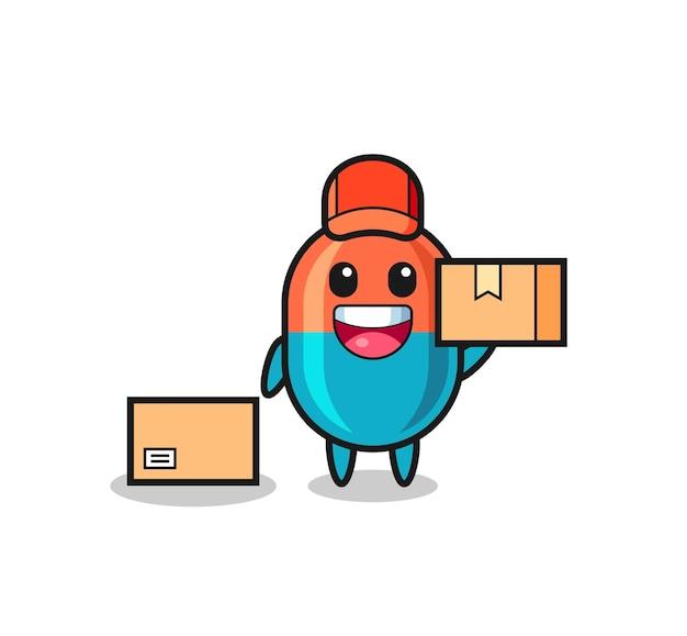 Illustration de mascotte de capsule en tant que courrier, conception de style mignon pour t-shirt, autocollant, élément de logo