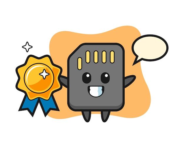Illustration de mascotte de carte sd tenant un badge doré, conception de style mignon pour t-shirt