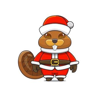 Illustration d'une mascotte de castor mignon avec un costume de père noël pour noël