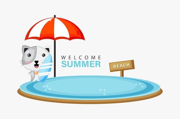 Illustration d'une mascotte de chat mignon nageant sur la plage avec des voeux d'été