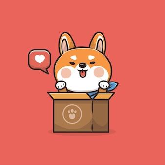 Illustration de mascotte de chien animal mignon kawaii