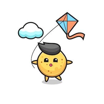 L'illustration de mascotte de chips de pomme de terre joue au cerf-volant, design mignon