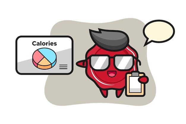 Illustration de la mascotte de cire à cacheter en tant que diététiste