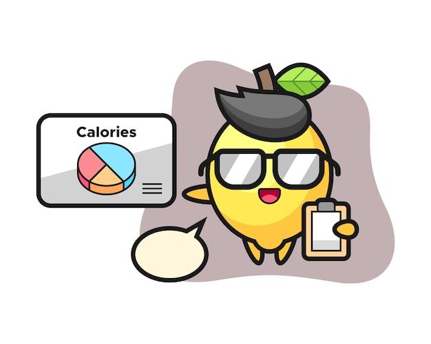 Illustration de la mascotte de citron en tant que diététiste